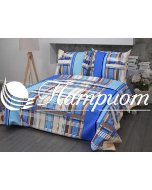 КПБ 1.5 спальный Клетка, синий, набивная бязь 125 гм2 351-1