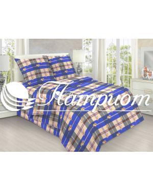 КПБ 1.5 спальный Перья, синий, набивная бязь 125 гм2 152-1